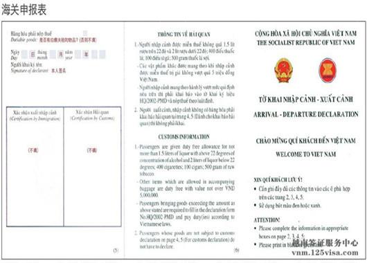 越南签证材料海关申报表模板