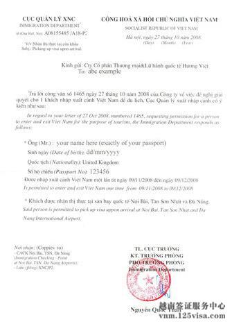 越南落地签电子批文模板